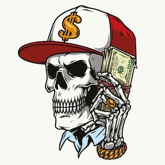 Kleurrijke schedel in baseballcap met dollarbiljetten geïsoleerd