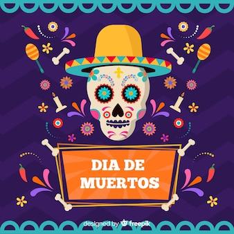 Kleurrijke schedel met hat día de muertos achtergrond
