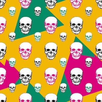 Kleurrijke schedels afdrukken. schedel naadloos patroon.