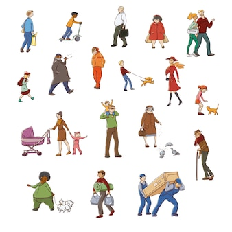 Kleurrijke schets set illustraties wandelen stedelijke bewoners. kinderen en volwassenen in verschillende situaties in de stad.