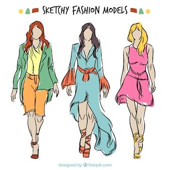 Kleurrijke schetsmatig fashion modellen