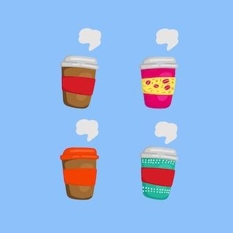 Kleurrijke schilderij illustratie doodle koffie kopjes te gaan verzameling set
