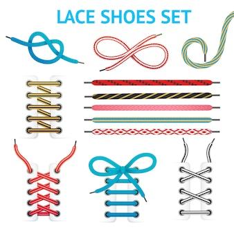 Kleurrijke schoenveter set