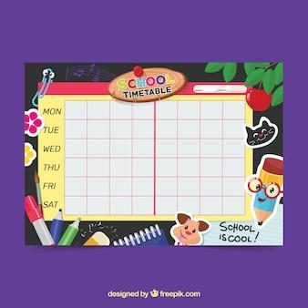 Kleurrijke school tijdschema sjabloon met platte ontwerp