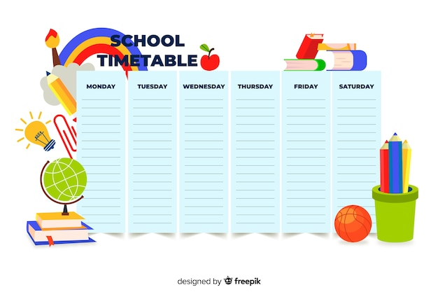 Kleurrijke school tijdschema sjabloon plat ontwerp