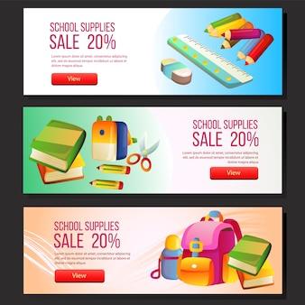 Kleurrijke school verkoop banner sjabloon web set schoolbenodigdheden