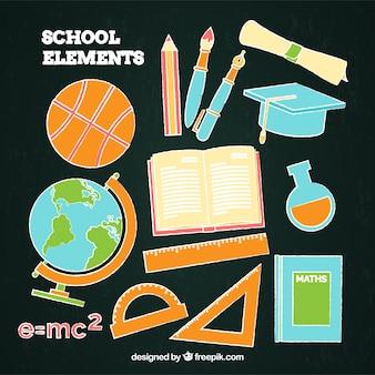 Kleurrijke schoolelementen in bordstijl