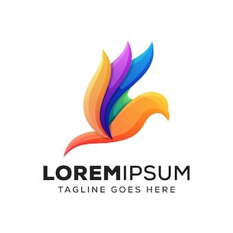 Kleurrijke schoonheid vogel logo