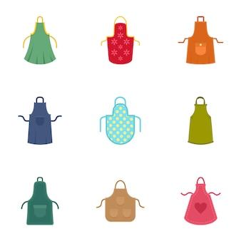 Kleurrijke schort icon set, vlakke stijl