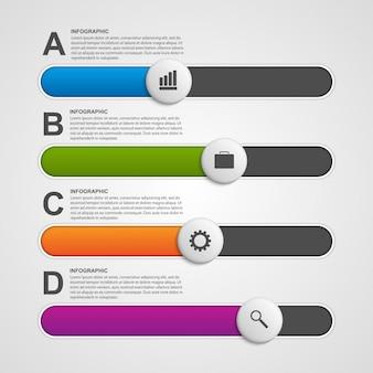 Kleurrijke schuifregelaar zakelijke infographic.