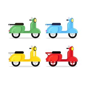 Kleurrijke scooter cartoon stijl.