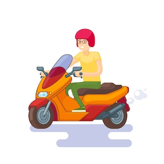 Kleurrijke scooter flat concept
