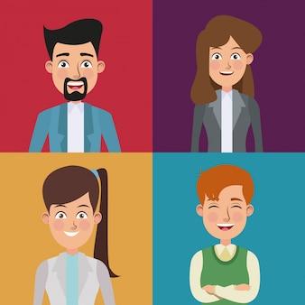 Kleurrijke secties frame set van halve body executives mannelijke en vrouwelijke mensen