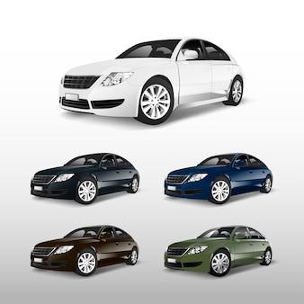 Kleurrijke sedanauto's die op witte vector worden geïsoleerd