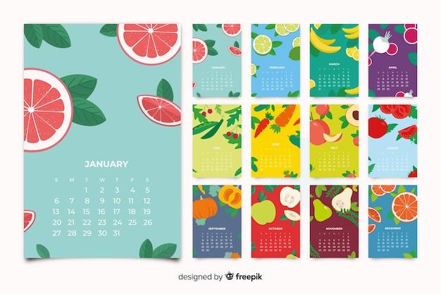 Kleurrijke seizoensgroenten en fruitkalender