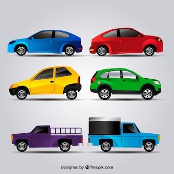 Kleurrijke selectie van auto's in realistische ontwerp