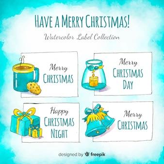 Kleurrijke set aquarel kerst labels