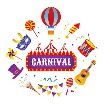 Kleurrijke set carnavalsartikelen en verschillende muziekinstrumenten