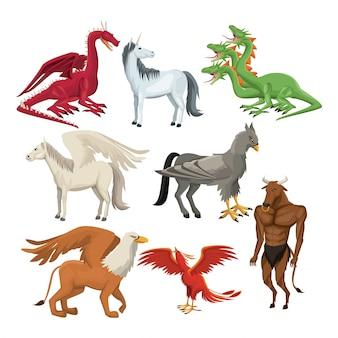 Kleurrijke set dierlijke griekse mythologische wezens