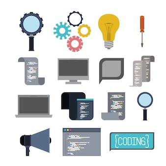 Kleurrijke set iconen elementen van programmacodes taal