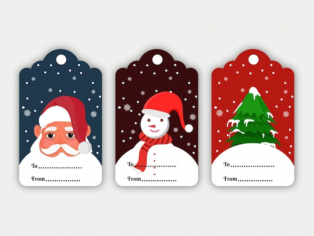 Kleurrijke set kerst tags.