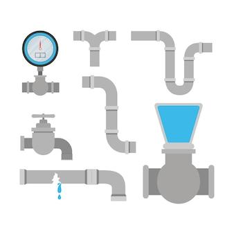 Kleurrijke set leidingen sanitair service
