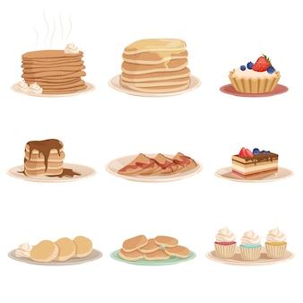 Kleurrijke set met diverse zoete desserts