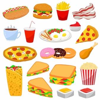Kleurrijke set met fast food