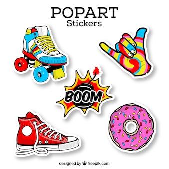 Kleurrijke set retro stickers