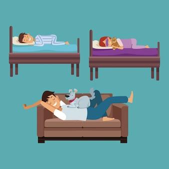 Kleurrijke set scene man slaap in de bank en kinderen in haar bedden