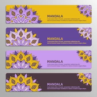 Kleurrijke set van decoratieve banners met mandala.