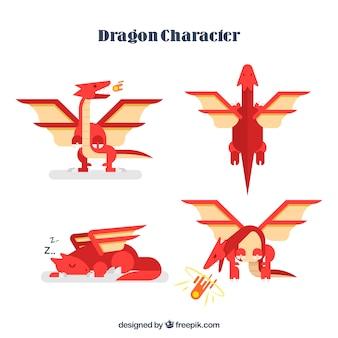 Kleurrijke set van draken met plat ontwerp