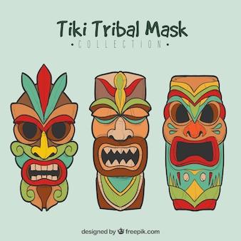 Kleurrijke set van exotische hawaiiaanse maskers
