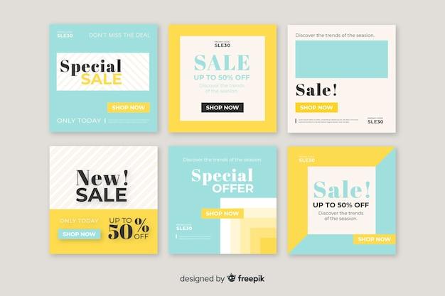 Kleurrijke set van moderne verkoopbanners voor sociale media