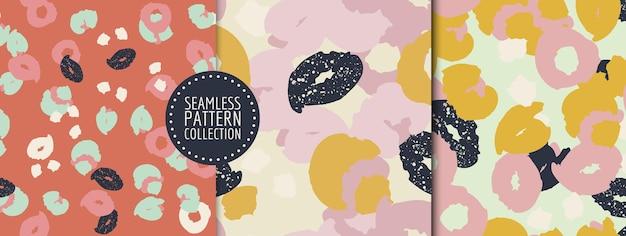 Kleurrijke set van naadloze patronen achtergronden headers collages met verschillende vormen en texturen