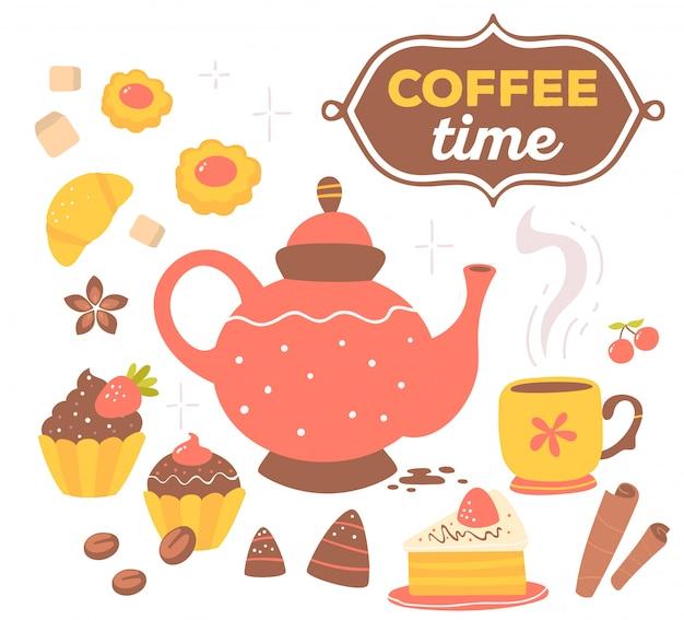 Kleurrijke set van rode en gele koffie thema-objecten met tekst in bruin frame geïsoleerd op een witte achtergrond met ster.