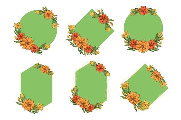 Kleurrijke set van schattige schetsbloemen met een vorm van de krans