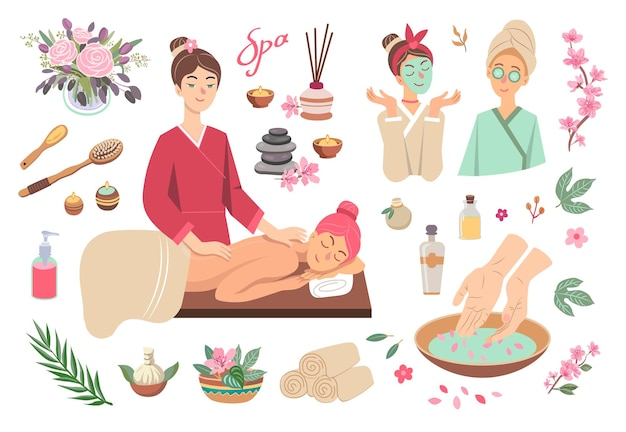 Kleurrijke set van spa symbolen cartoon afbeelding