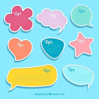 Kleurrijke set van tip etiketten met platte ontwerp