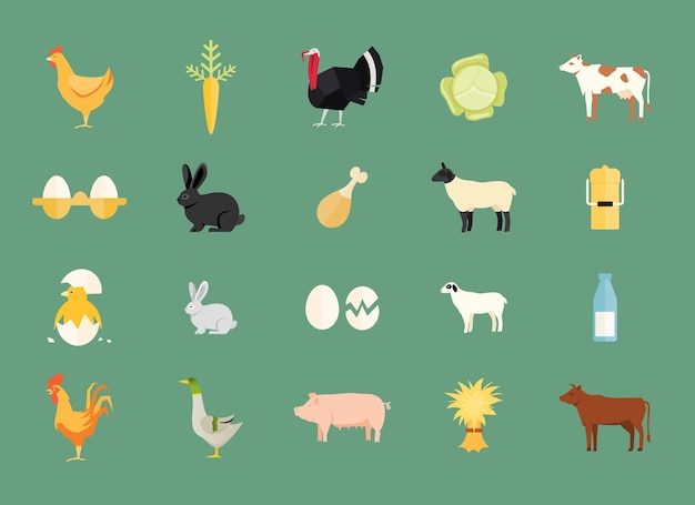 Kleurrijke set van vector boerderijdieren en produceren met kip en ei
