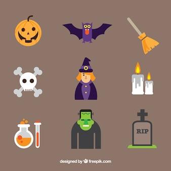 Kleurrijke set van vlakke halloween elementen