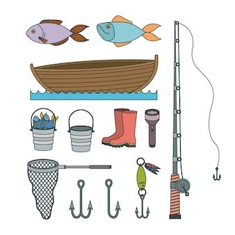 Kleurrijke set verzameling schetselementen om te vissen