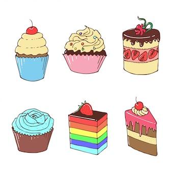 Kleurrijke shortcakes en cupcakes, hand getrokken illustratie