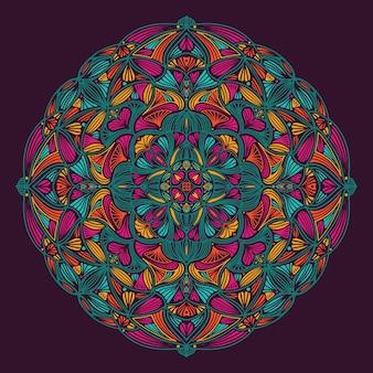 Kleurrijke sier bloemen etnische mandala
