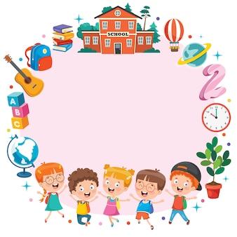 Kleurrijke sjabloon met grappige kinderen
