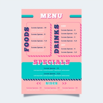 Kleurrijke sjabloon voor restaurantmenu