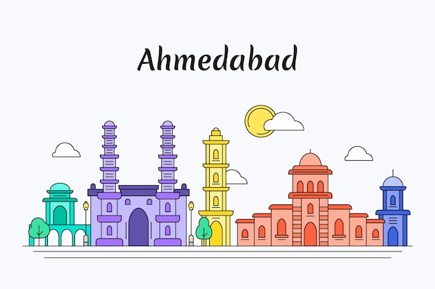 Kleurrijke skyline van ahmedabad