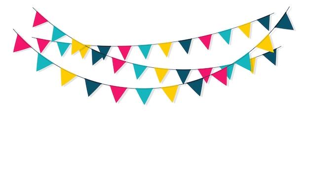 Kleurrijke slinger met vlaggen voor decoratie.