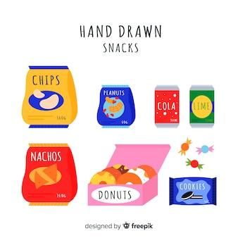Kleurrijke snackcollectie met plat ontwerp