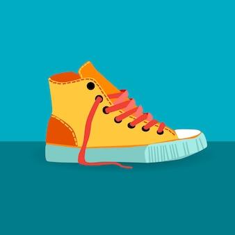 Kleurrijke sneaker trainings schoen voet slijtage pictogram